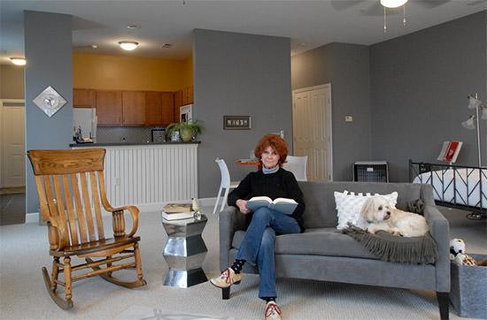 Jean Allcorn in her apartment