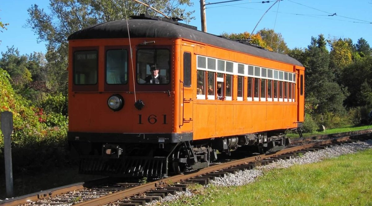 Electric trolley car on track