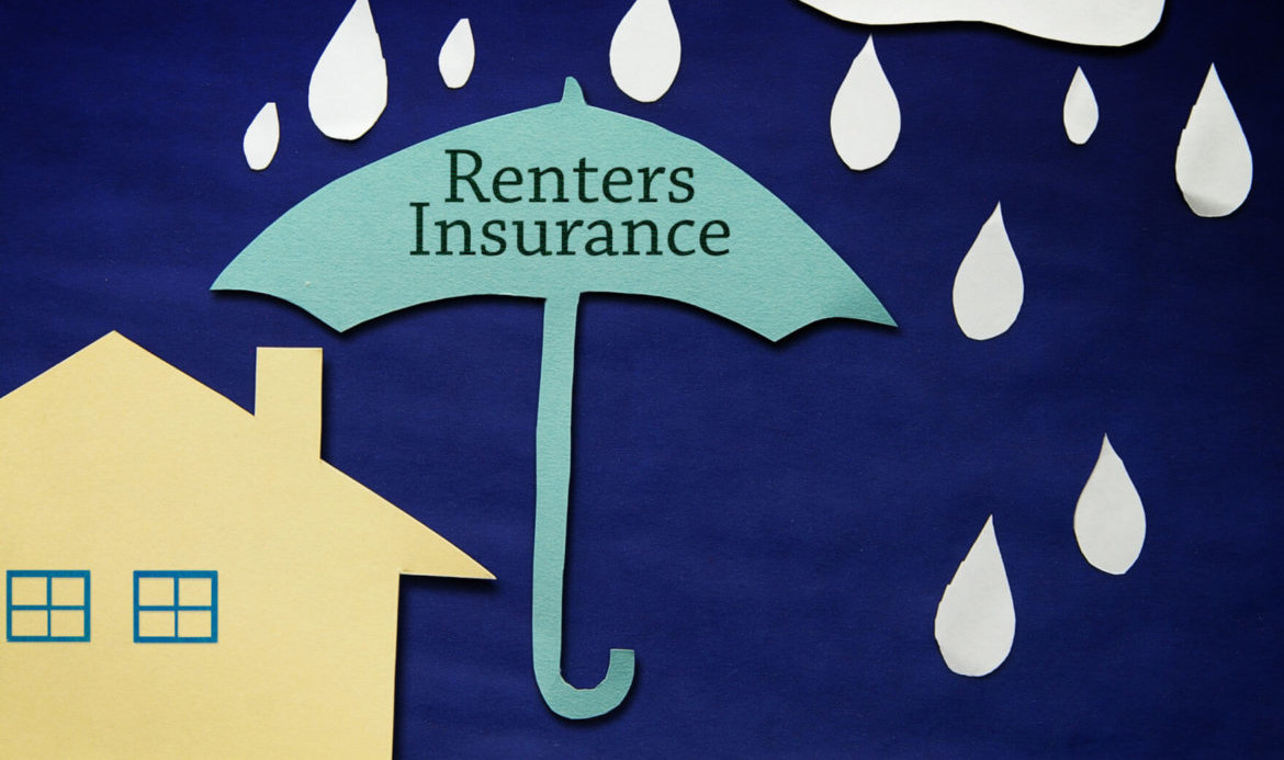 "Graphic image of umbrella that says ""renters insurance"" covering a house"