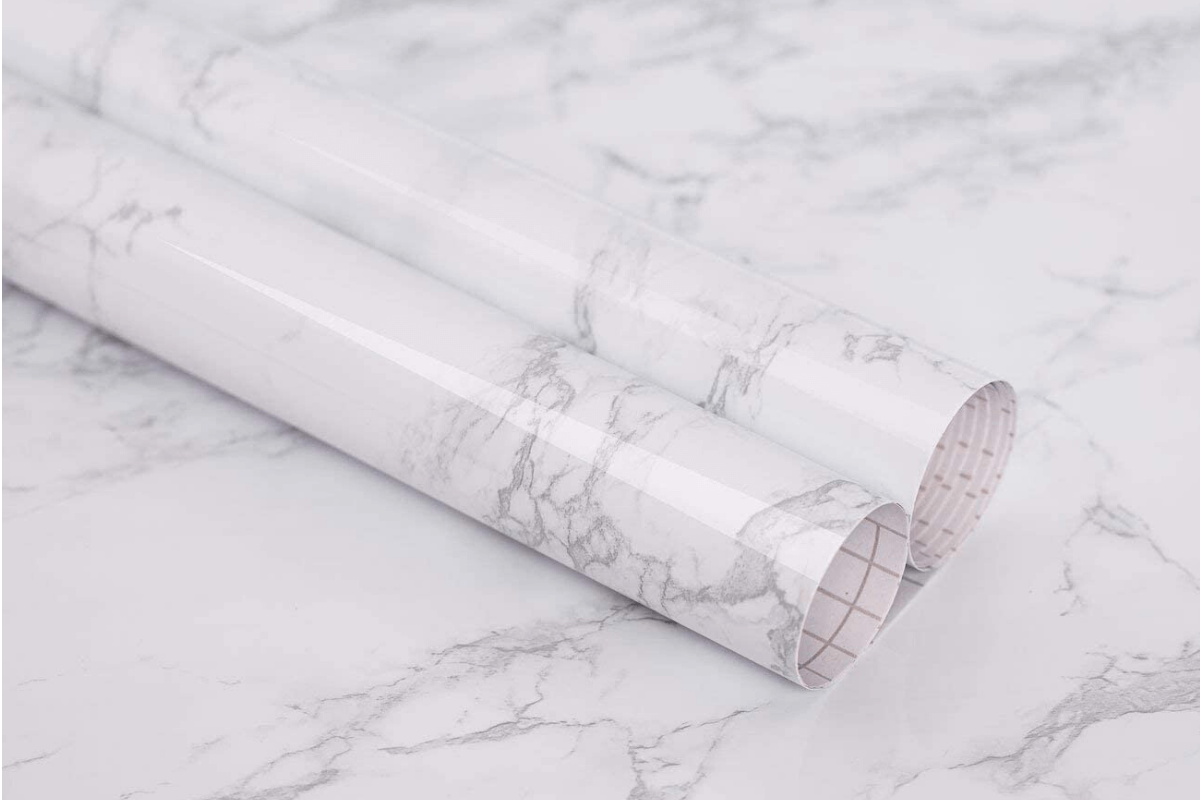 Two rolls of faux marble contact paper