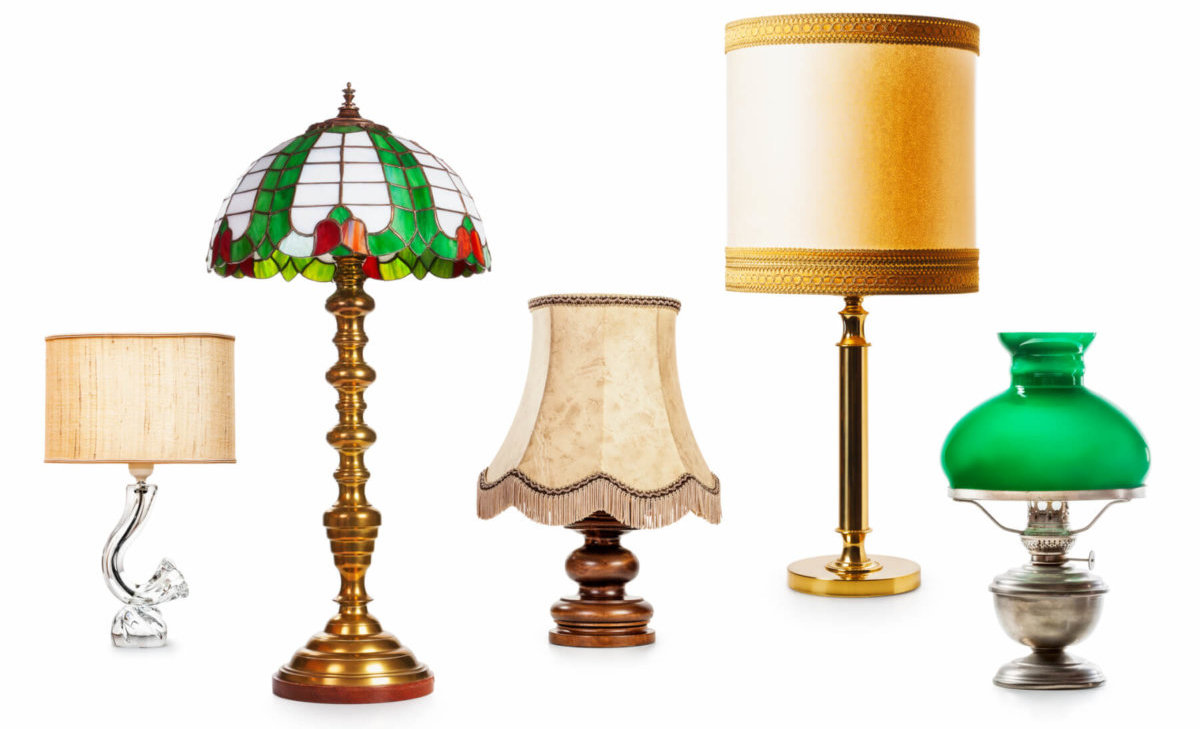 Five lamps of different styles