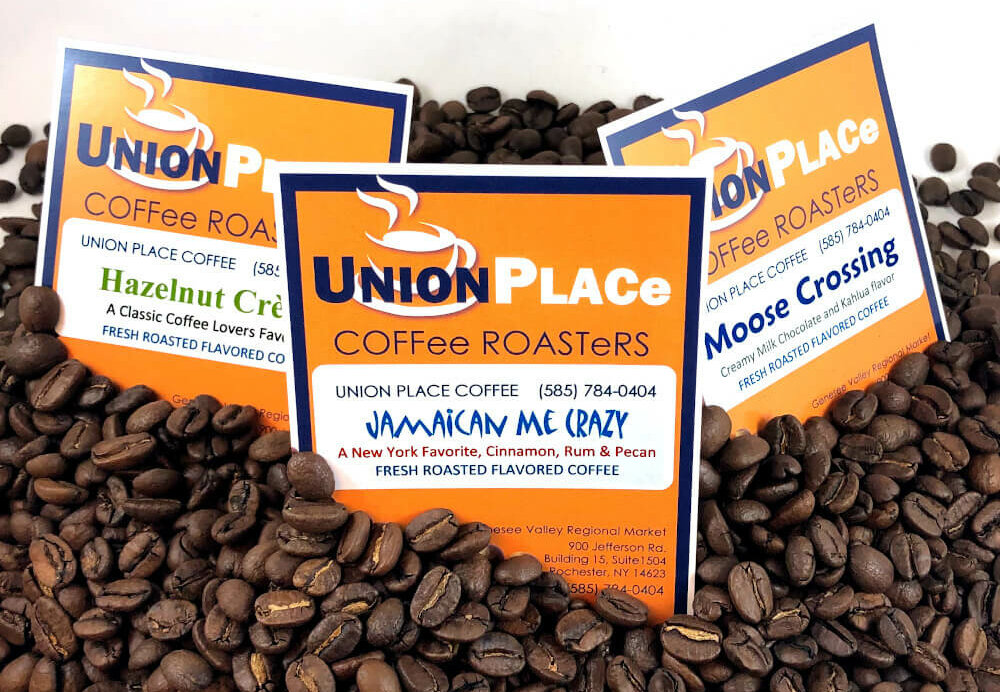 Roasted coffee beans with Union Place Coffee Roasters sign