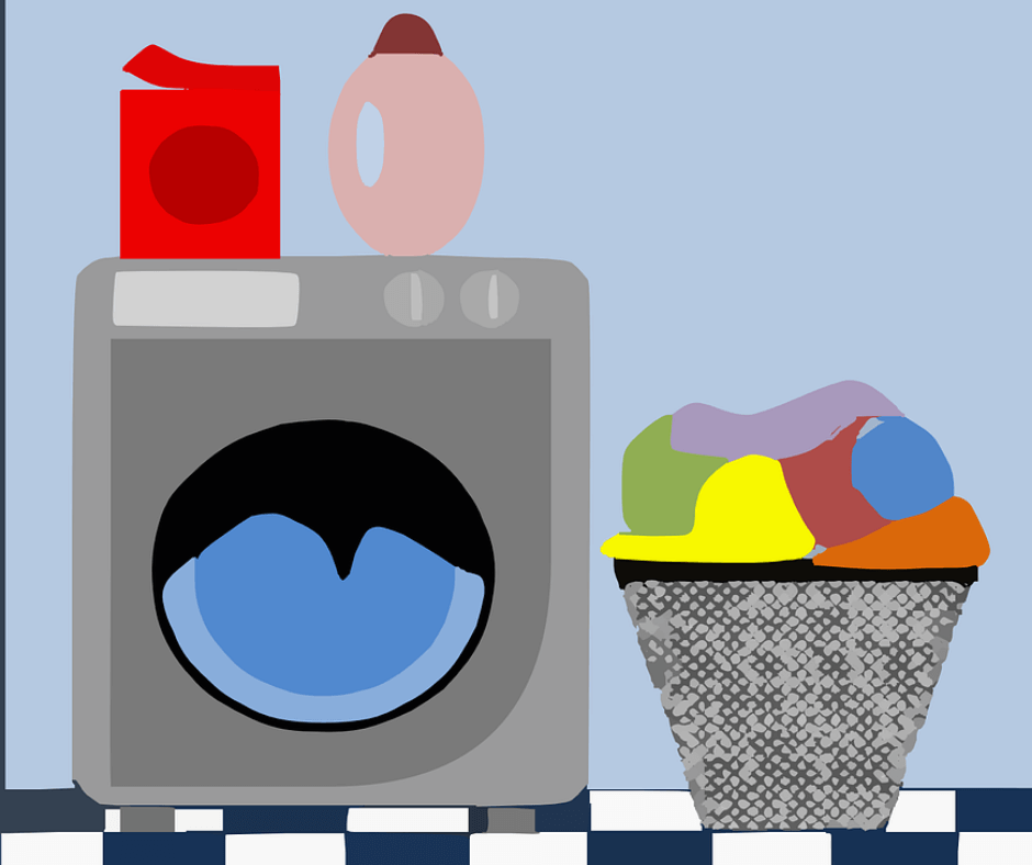 Illustration of washing machine, laundry basket and ironing board