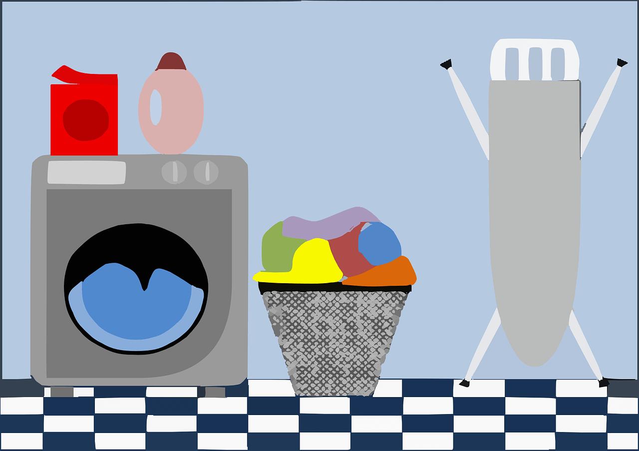 Illustration of washing machine, laundry basket and ironing board