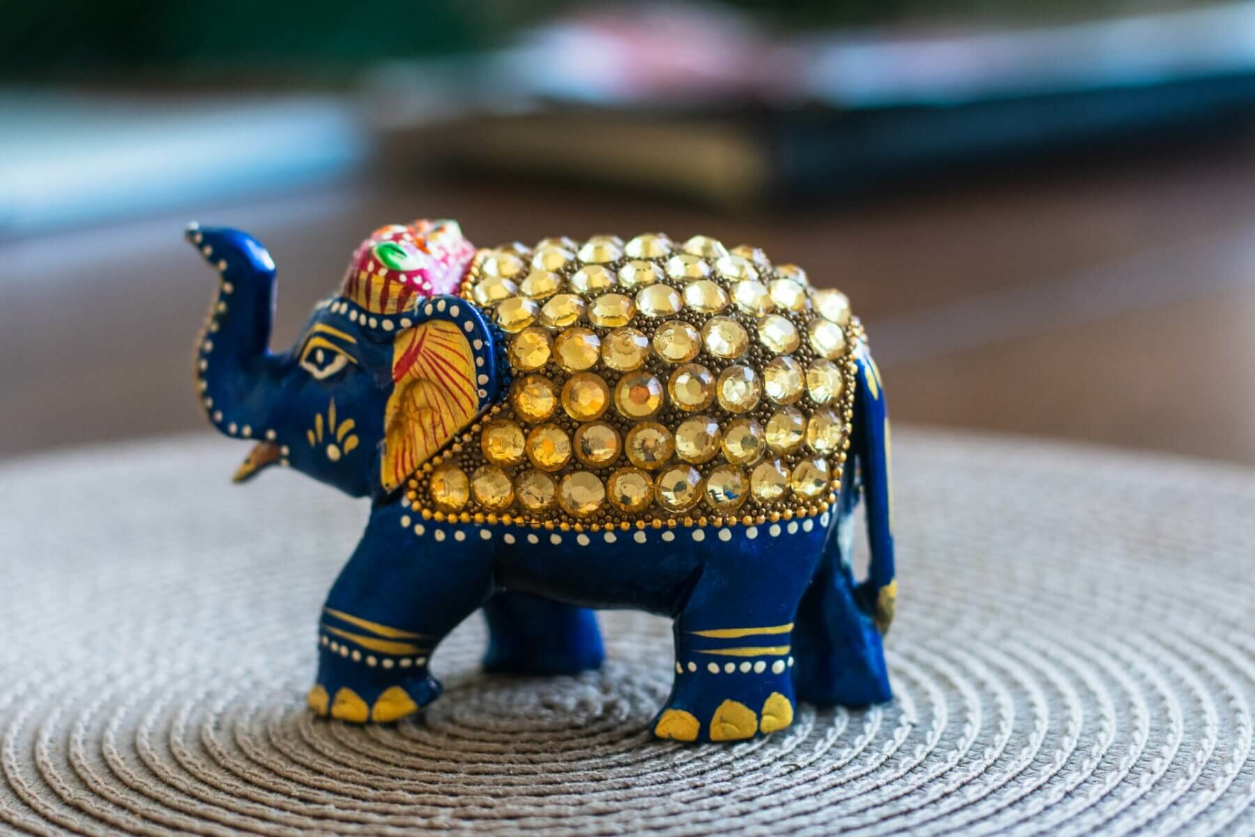 Photo of decorative elephant on a coffee table. Photo credit: Daniel Brubaker