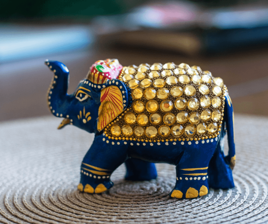 Photo of an elephant figurine on a coffee table: Photo credit: Daniel Brubaker
